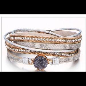 Jewelry - NEW BOHO JEWELRY-AMETHYST STONE LEATHER BRACELET